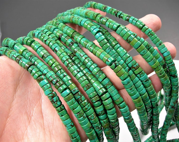 Howlite turquoise - 3mmx6mm heishi beads - full strand - 128 pcs - AA quality - RFG1748