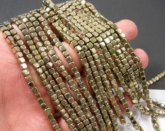 Hematite Light gold - 3.5mm square cube - full strand - 113 beads -  RFG2142