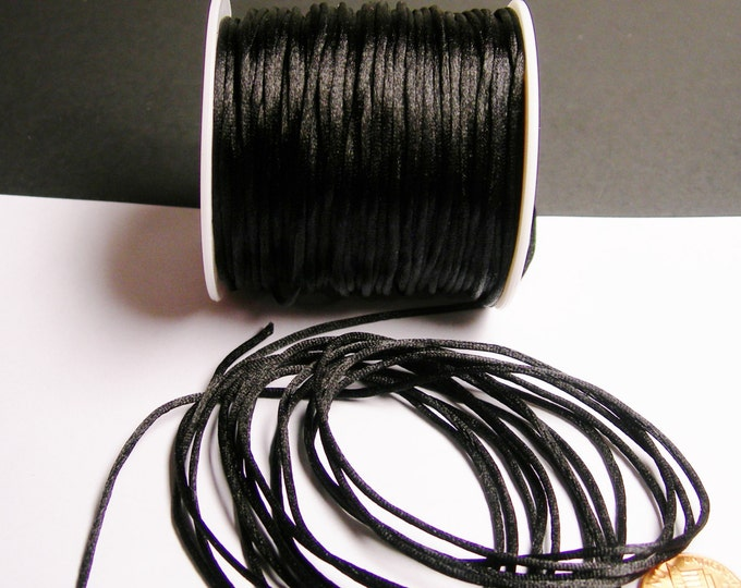 Satin Rattail Cord - knotting/beading cord -1.5mm - 65 meter - 213 foot - Black - SSC35