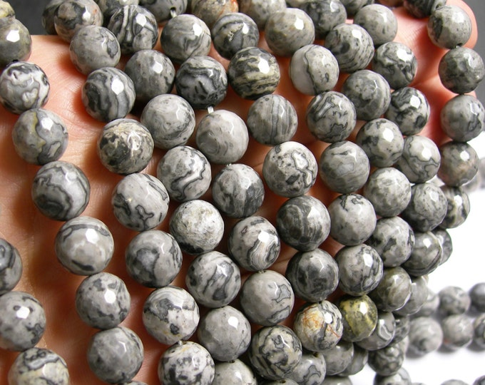 Picasso Jasper - 10mm faceted round - 40 beads - full strand strand - A quality - RFG363