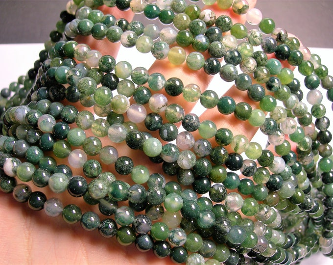 Moss agate - 6mm(6.4mm) round beads -1 full strand - 61 beads - A quality - RFG 223