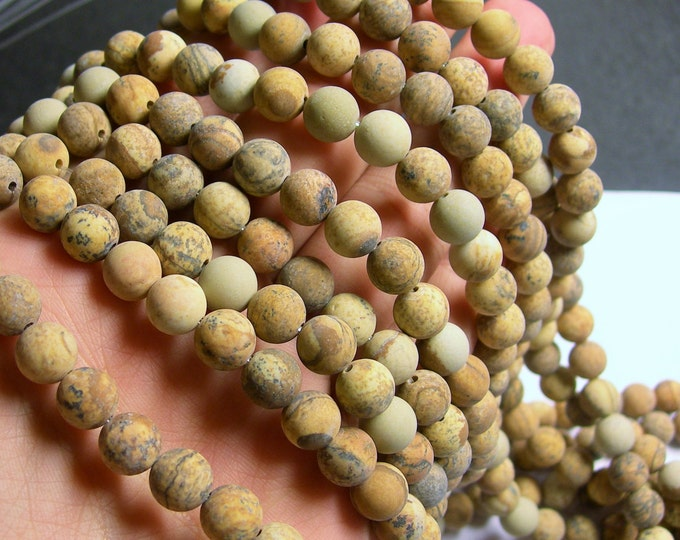 Picture Jasper Matte - 8 mm round beads -1 full strand - 49 beads - matte - RFG489