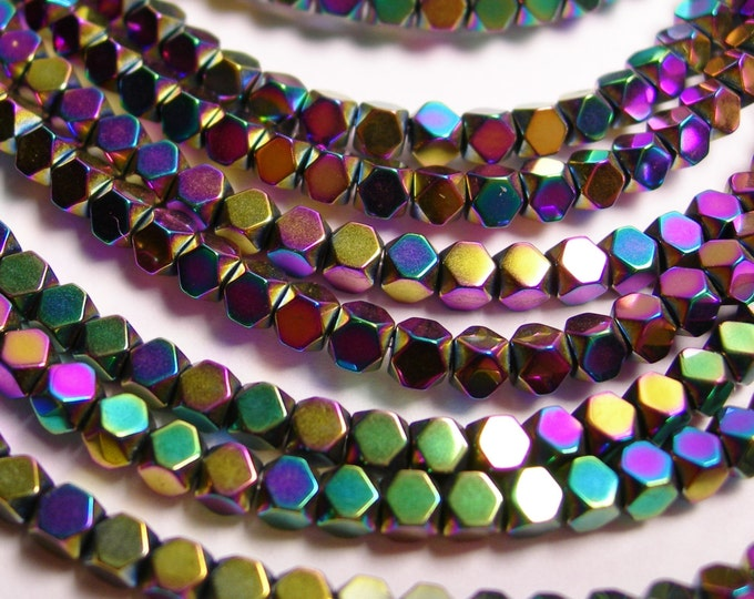 Hematite rainbow 3mm faceted rhombus square - full strand - 134 beads - AA quality - PHG30