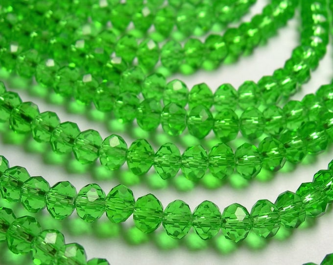 Crystal faceted rondelle -  98 pcs - 6 mm  - medium mint green - 18 inch strand - WHOLESALE DEAL - CRV144