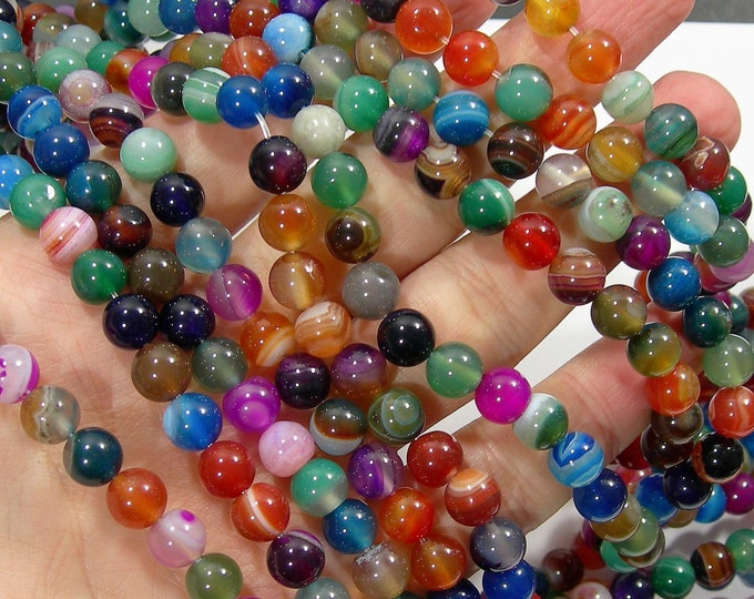 Multi Banded Agate - 8mm  round beads - full strand - multi color agate - 47 beads -  RFG1824
