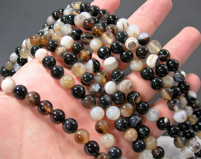 Black Brown Banded Agate - 8mm  round beads - full strand - 49 beads -  RFG2140