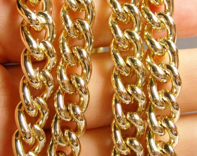 Gold chain -  twisted cable chain - 1 meter - 3.3 feet - aluminum chain - NTAC88