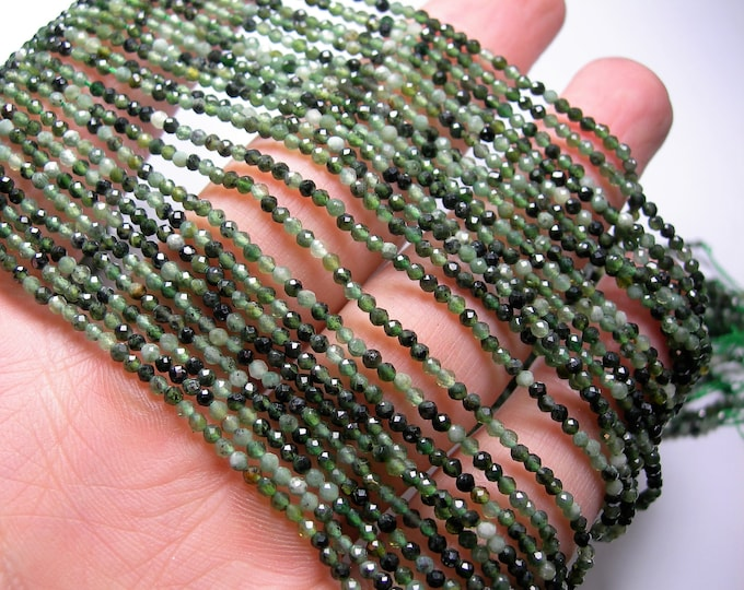 Jade Nephrite - 2mm(1.9mm) faceted round beads - full strand 207 beads - micro faceted Nephrite - PG328
