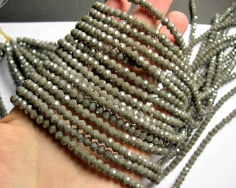 Crystal faceted rondelle - 99 pcs - 6 mm - AA quality - full strand - grey mud - GSH67