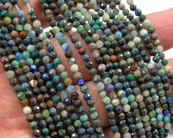 Chrysocolla  - 3 mm micro faceted round beads -  full strand  - 132 beads - PG200