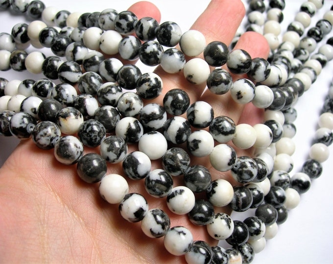 Zebra black white jasper-  10mm -  round - full strand - 38 beads - A Quality - RFG1186
