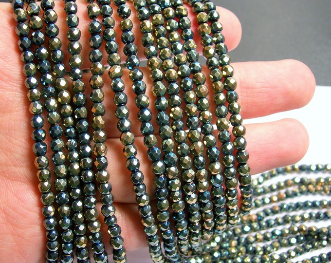 Hematite aqua gold - 4 mm faceted round beads - full strand - 103 beads - AA quality - dual tone - PHG222