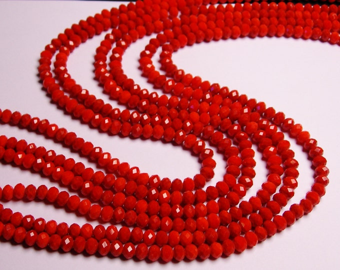 Crystal faceted rondelle -  98 pcs - AA quality - 6 mm - dark orange coral  - full strand - CRV112