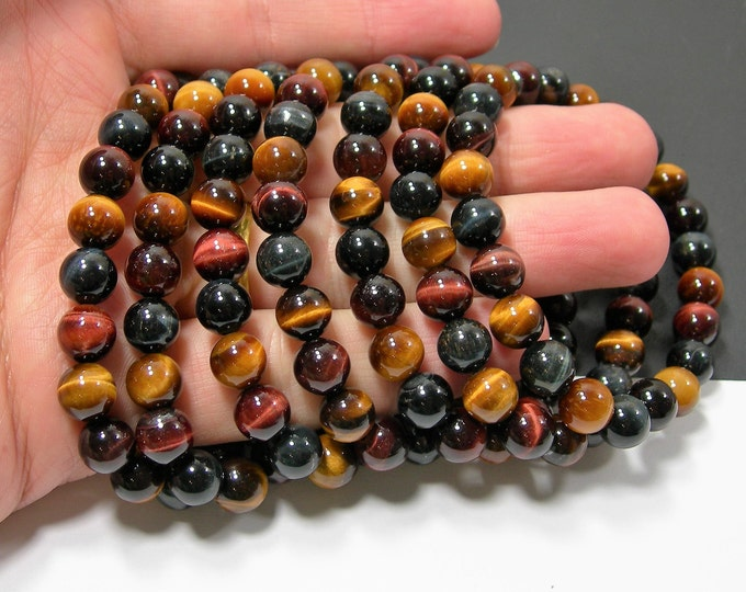 Tiger eye multi color - 8mm round beads - 23 beads - 1 set - mix color tiger eye -  HSG87