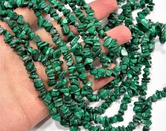 Malachite Gemstone - chip stone - pebble bead - full strand - 35 inch Genuine Malachite - PSC1