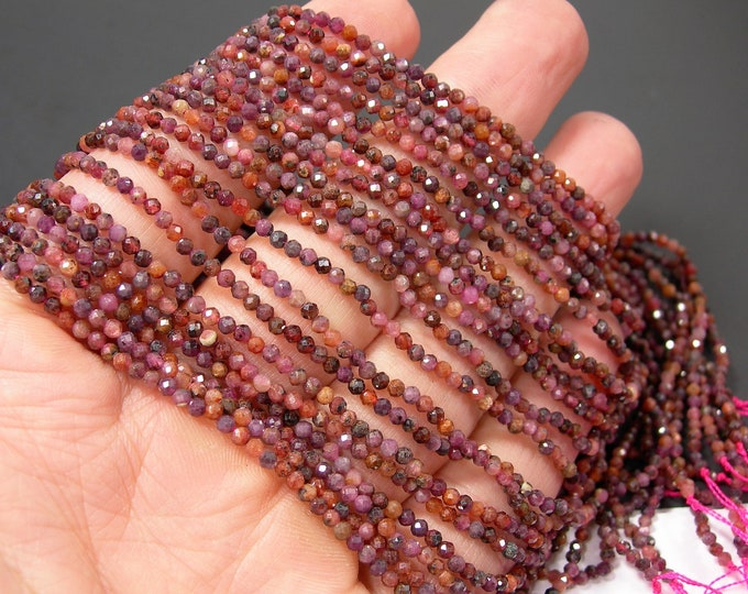 Ruby Corundum - 2mm(2.15mm) micro faceted round beads - full strand - 179 beads - Mix tone Corundum mineral - PG323