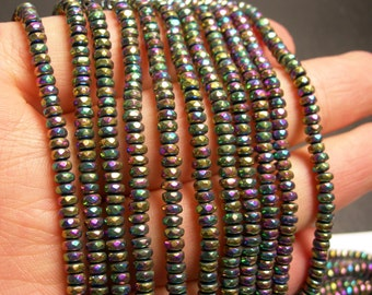Hematite mystic rainbow - 2x4mm faceted rondelle beads - full strand - 184 beads - A quality - PHG140