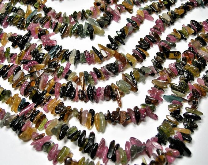 Tourmaline gemstone - stick beads - point - chip stone -  A quality - 140 beads -  full strand - RFG1699