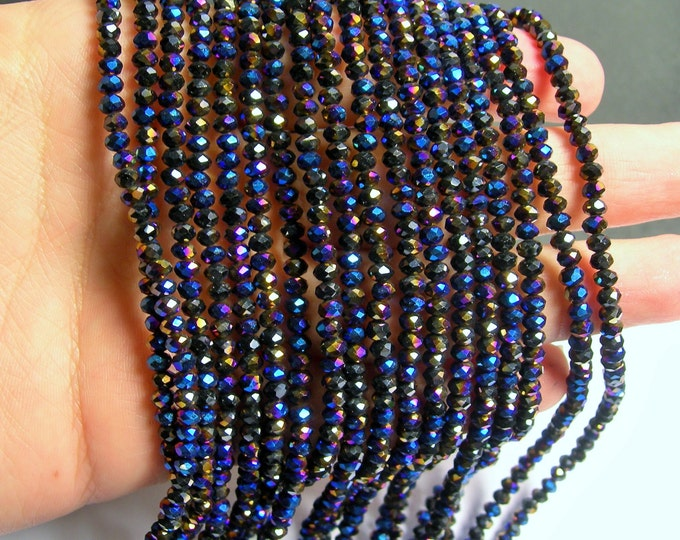 Crystal faceted rondelle - 145 pcs - 18 inch strand - 4 mm - A quality - dark mystic rainbow - YAZ9