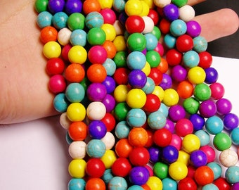 Howlite turquoise - multicolor - 10mm round beads -1 full strand - 40 beads - WHOLESALE DEAL -  RFG714