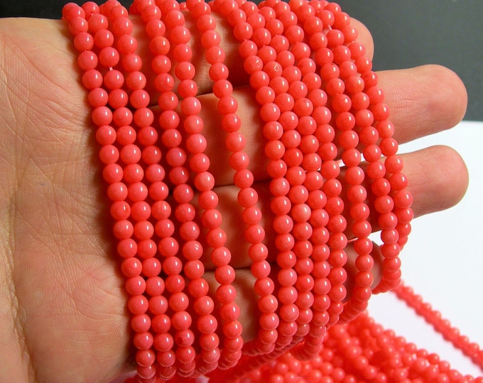 Coral - Salmon pink -  4mm round bead -  full strand -  A quality - 97 beads - RFG472