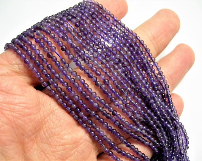 Amethyst - 2mm round - 175 beads - full strand - A quality - PG32