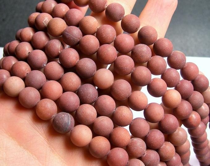 African Blood Jasper matte - 10 mm round beads - full strand - 40 beads - A quality - Matte - RFG871