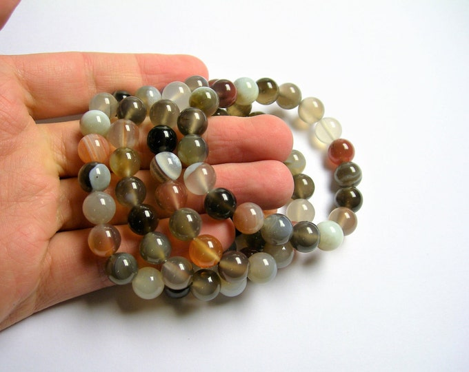 Botswana agate  - 10mm round beads - 19 beads - 1 set - A quality  - HSG49