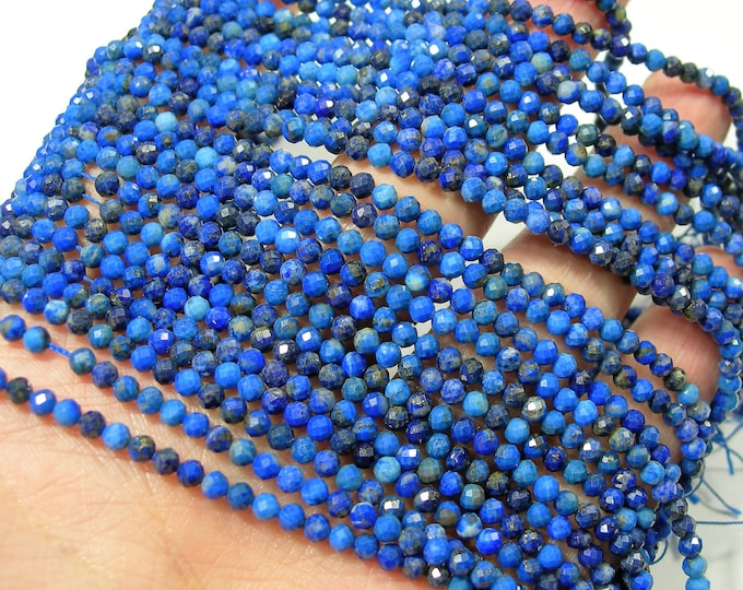 Lapis Lazuli - 3.2mm faceted round beads - full strand  124 beads - micro faceted Lapis Lazuli  - PG272