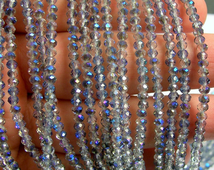 Crystal - rondelle faceted 3.5mm x 2.5mm - 147 beads - glacier sparkle ab - full strand - AA quality - MAC32