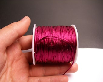 Satin Rattail Cord - knotting/beading cord -1.5mm - 65 meter - 213 foot - Vivid Burgundy purple - SSC21