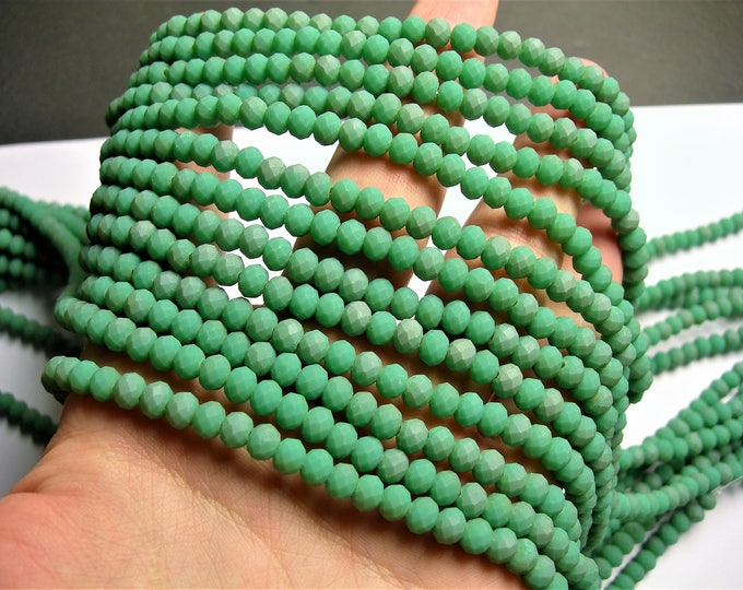 Crystal faceted rondelle - 100 pcs - 6 mm - AA quality - full strand - dual tone green - GSH66