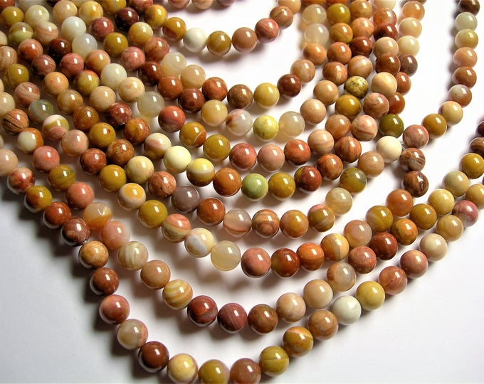 Petrified wood - 8mm round beads -1 full strand - 48 beads - Madagascar petrified wood - RFG1295
