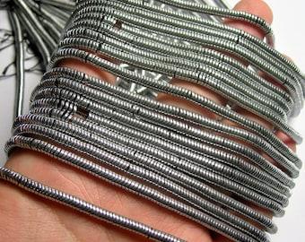 Hematite silver - 4mmx1mm heishi beads - full strand - 400 beads - AA quality - PHG260