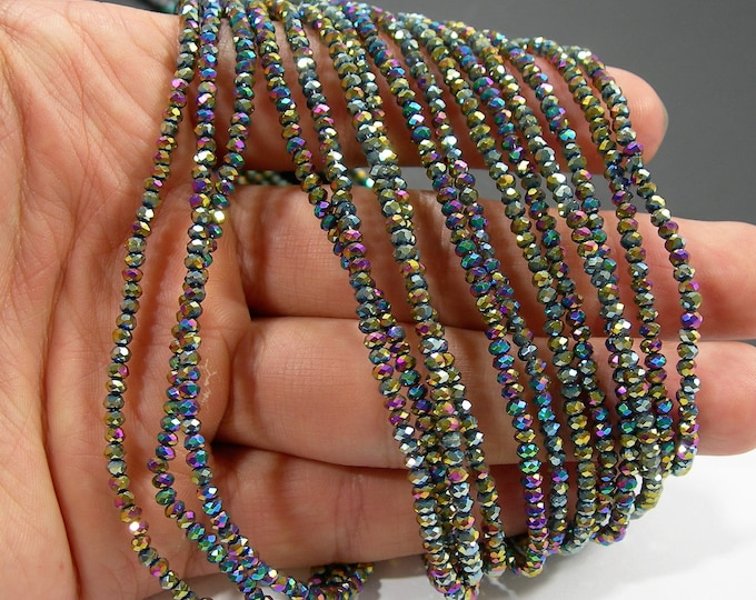 Crystal - rondelle faceted 3mm x 2mm beads - 195 beads - AA quality - Mystic rainbow  - CAA2G247