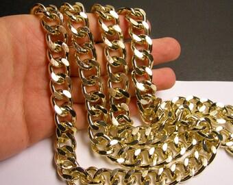 Gold chain - 1 meter - 3.3 feet - aluminum chain -big gold  curb chain  NTAC140
