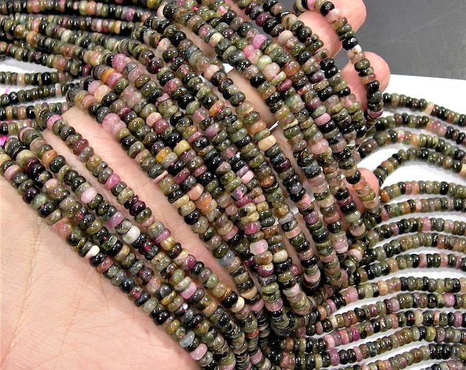 Tourmaline - 5mm (5.5mm) heishi rondelle beads - full strand - 160 beads - Ab quality - multi color tourmaline - RFG1273