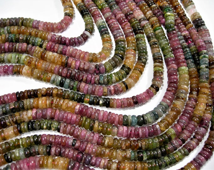 Tourmaline - 6mm - 7mm - heishi rondelle beads - full strand - 150 beads - A quality - multi color tourmaline - RFG1821A
