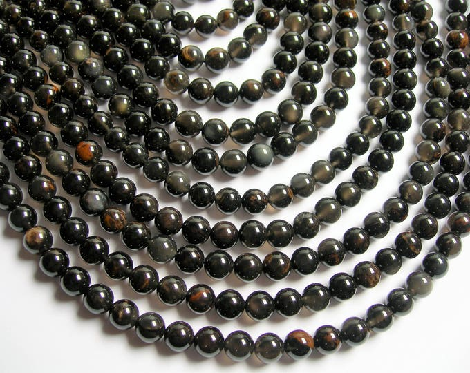 Obsidian - 8mm round beads - full strand - 48 beads - A quality - very rare with inclusion  - RFG1289