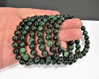 Green Chlorite Euchlorite - 8mm round beads - 23 beads - 1 set - AA quality - HSG168