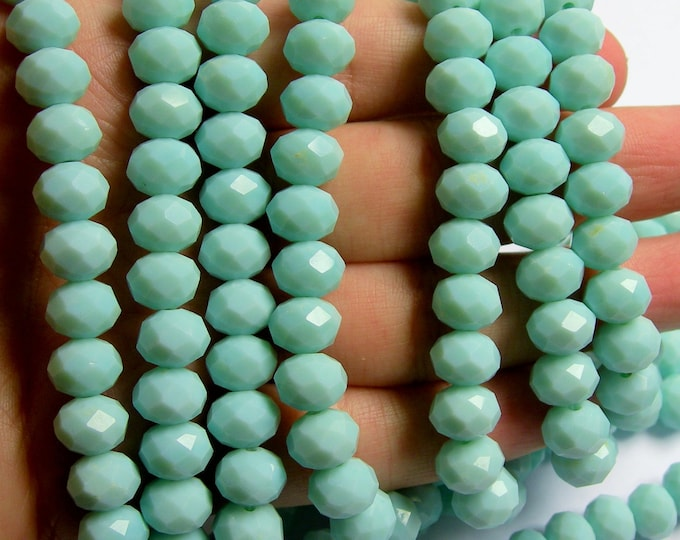Crystal faceted rondelle - full strand 21 inch  -  72 pcs - 10mm x 7mm - A quality - pastel mint - CRV88