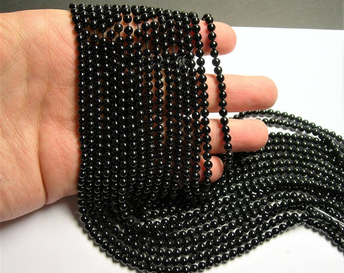 Black Spinel - 4mm round beads -1 full strand - 99 beads - RFG1379