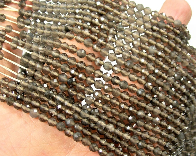 Grey Obsidian - 4mm (3.7mm) faceted roundelle beads -  full strand 16 inch - 40 cm - 106 beads - Micro Faceted - A Quality - PG173