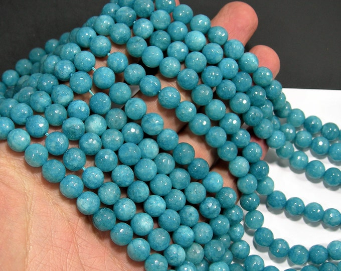 Jade - 8 mm faceted round beads - full strand - 48 beads -  Blue Jade - RFG2002