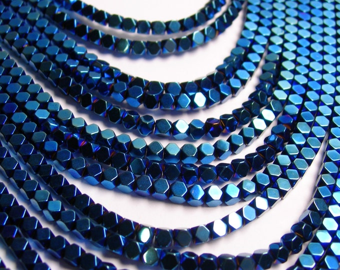 Hematite mystic blue 3mm faceted rhombus square - full strand - 134 beads - AA quality - PHG31