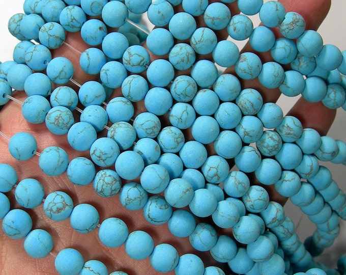 Matte Turquoise  - 8mm beads -  full strand - 49 pcs - A Quality - Turquoise Magnesite - Wholesale deal - RFG1678