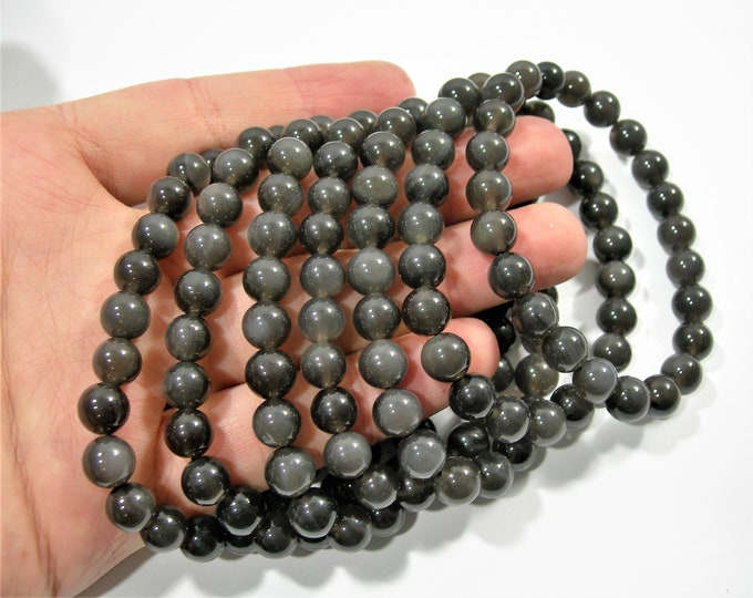 Grey Obsidian - 8mm round beads - 23 beads - 1 set - A quality - HSG101