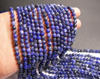 Sodalite - 6 mm faceted  round beads -1 full strand - 66 beads - RFG217