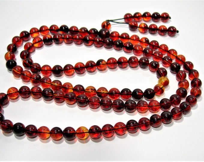 Amber Reconstituted - 8mm  round - 34 inch  strand - 108 beads - RFG1788
