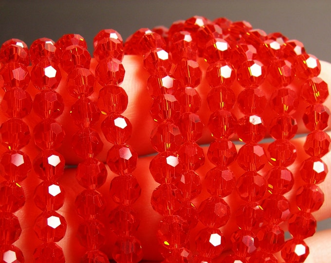 Crystal - round faceted 6mm beads - 72 beads - AA quality - vivid tangerine color - Full strand